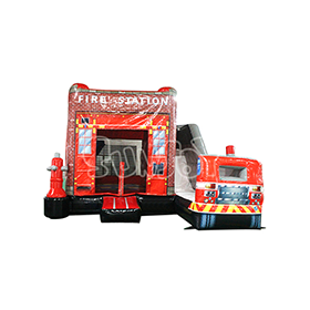 SJ-CO17007 Inflatable Fire Station House Truck Slide Combo