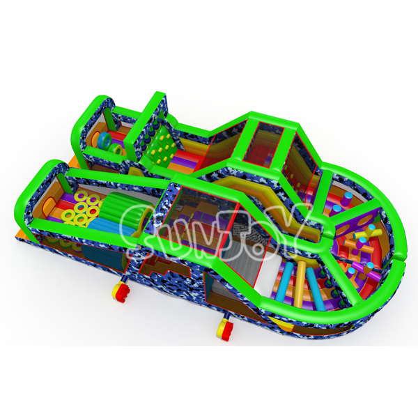 U Shape Camouflage Inflatable Obstacle Course New Design SJ17018