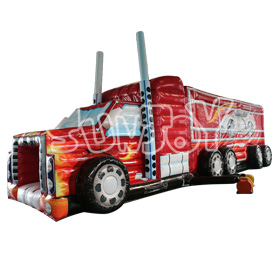 SJ-OB16016 14M Red Truck Inflatable Obstacle Course Sale