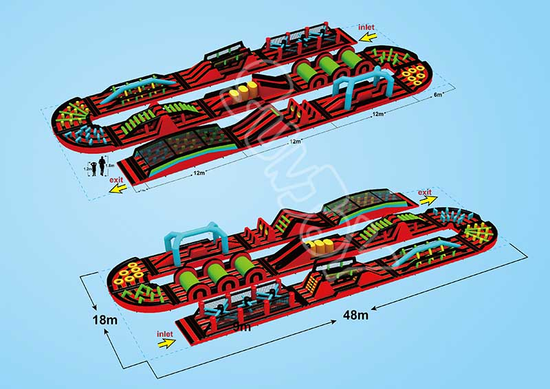 large inflatable obstacle course design drawing