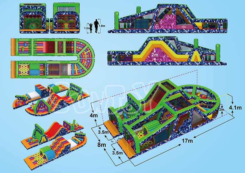 u shape inflatable obstacle course design drawing