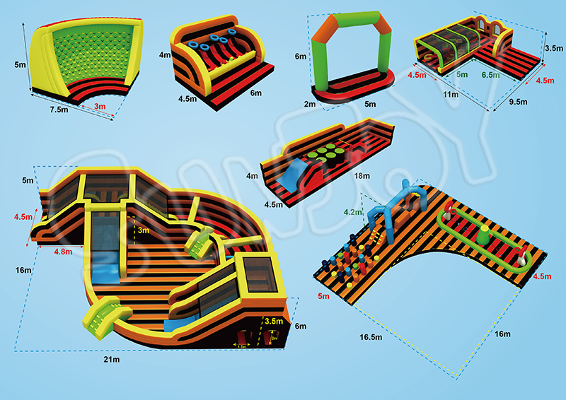 all-round inflatable playground detail drawing