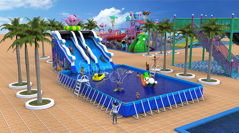 Double Lane Inflatable Octopus Water Slide For Above
